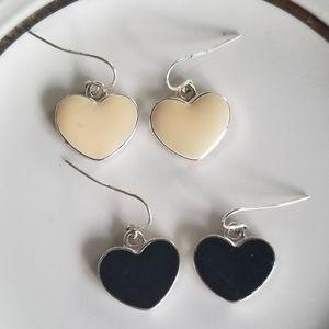 NEW set of 2 Black and White Heart Dangle Earings
